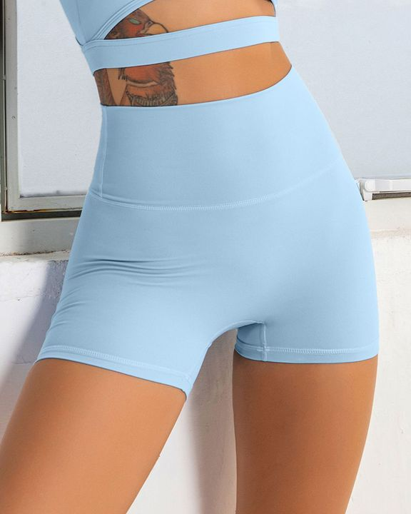 Solid Wide Waistband Sports Shorts gallery 1
