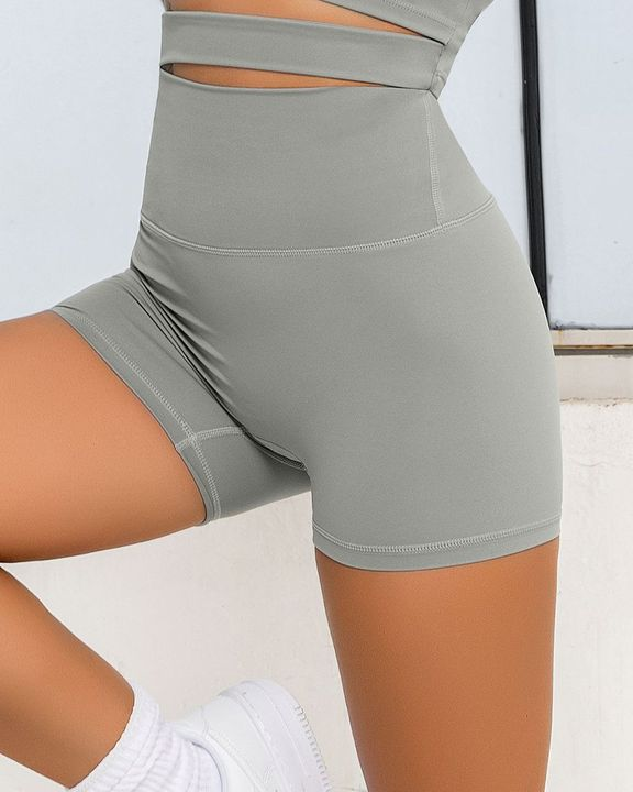 Solid Wide Waistband Sports Shorts gallery 11