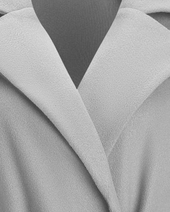 Tie Waist Dual Pocket Lapel Neck Coat gallery 13