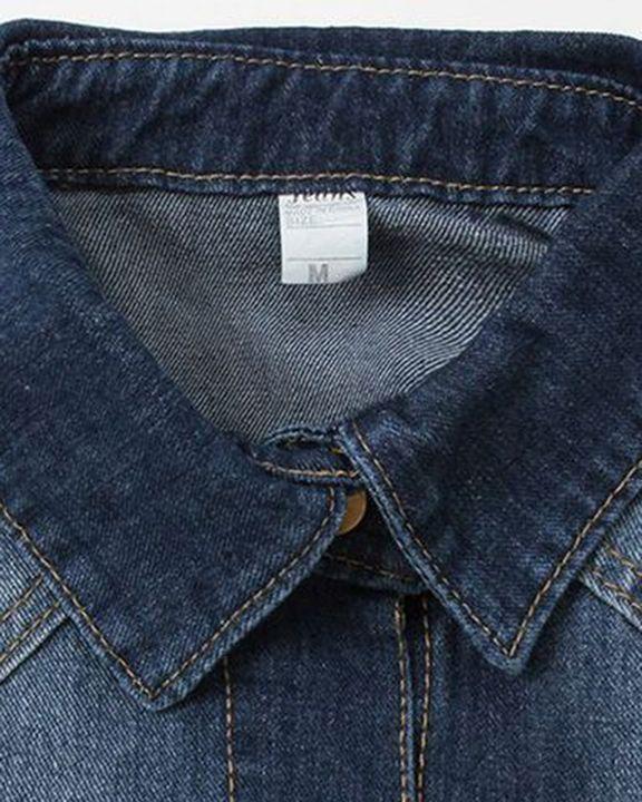 Ripped Flap Pocket Button Up Raw Hem Denim Coat gallery 7