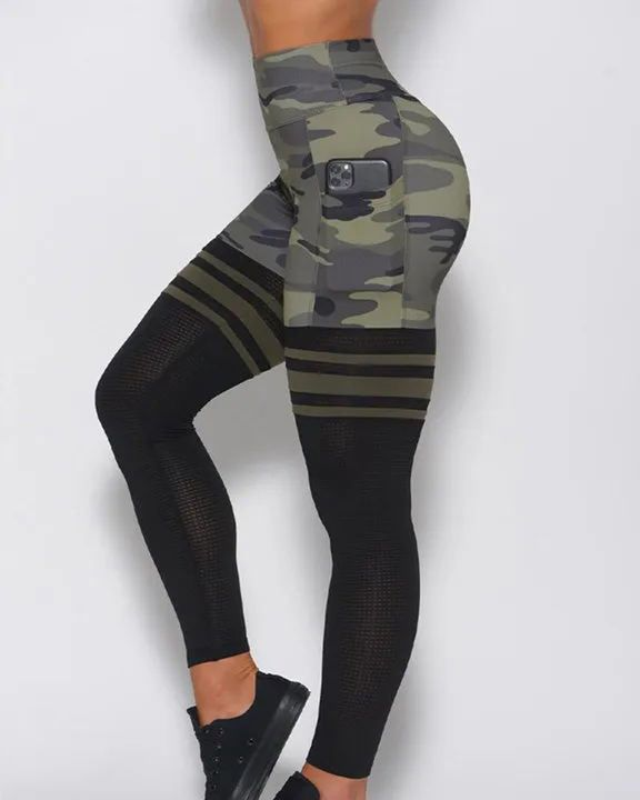 Camo Colorblock Wide Waistband Sports Leggings gallery 1