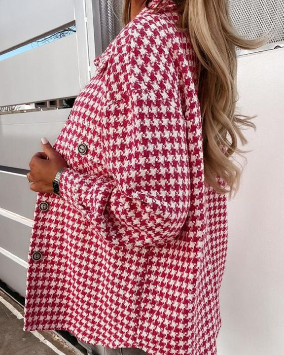 Houndstooth Pattern Button Up Flat Pocket Jacket gallery 7
