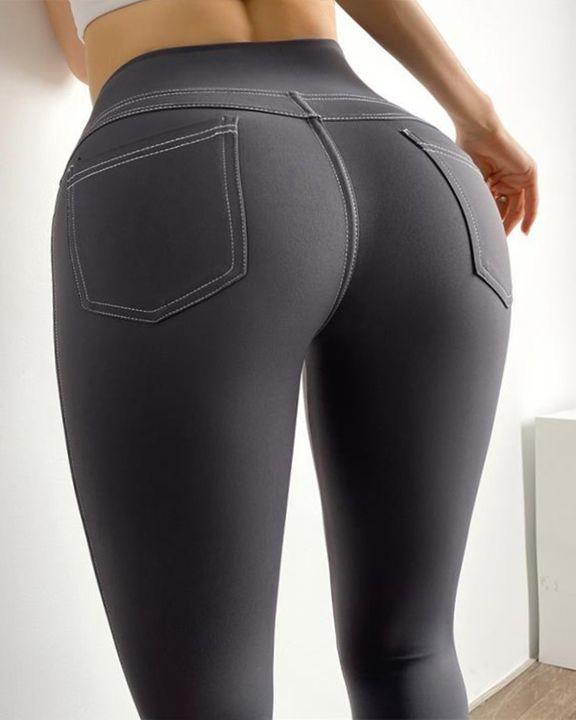 Topstitching Pocket Design High Waist Sports Leggings gallery 7