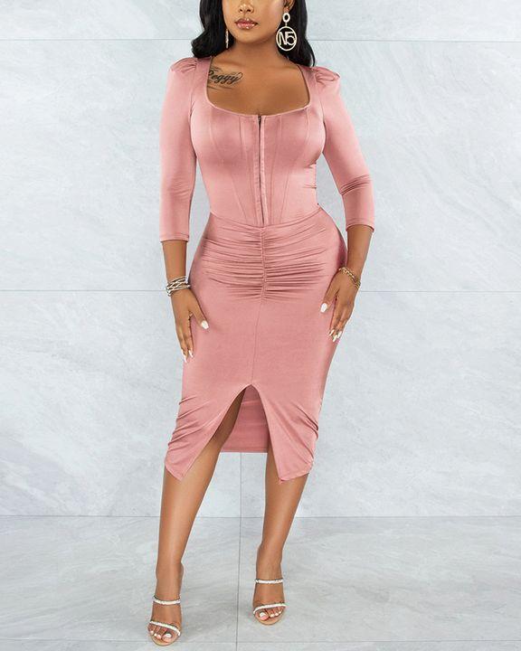 Solid Ruched Zip Front Split Hem Bodycon Midi Dress gallery 3