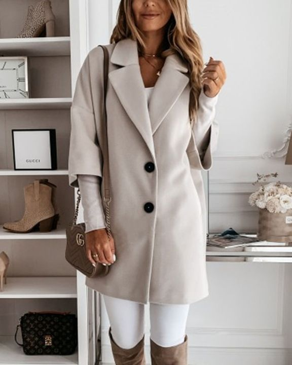 Double Breasted Pocket Detail Lapel Neck Coat gallery 4