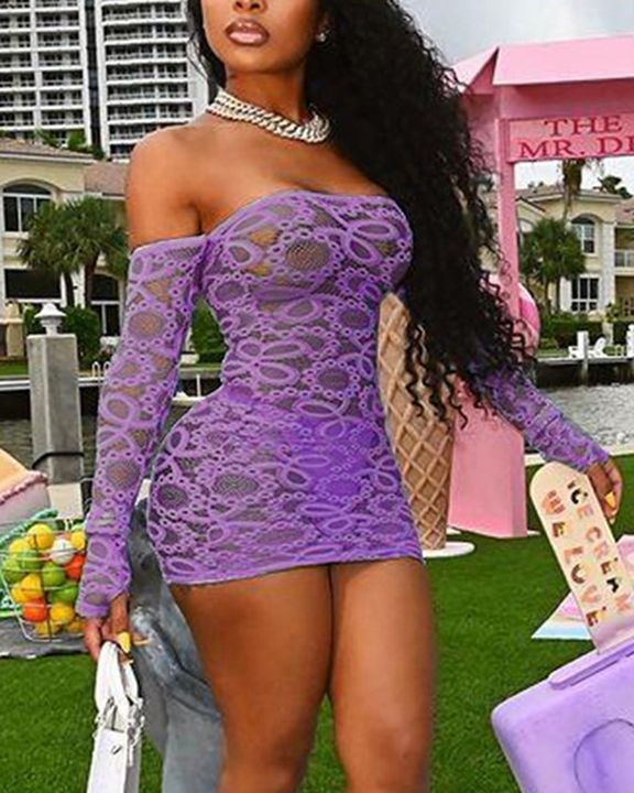Solid Eyelet Embroidery Sheer Thumb Hole Off Shoulder Mini Dress With Panty gallery 8
