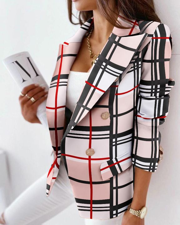 Houndstooth Double Breasted Lapel Neck Blazer gallery 4