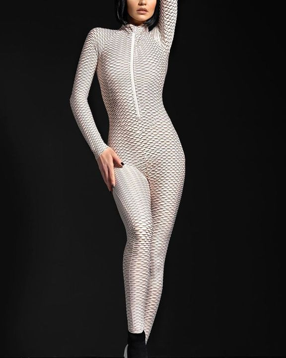 Solid Textured Ruched Zip Up Long Sleeve Sports Jumpsuit gallery 4
