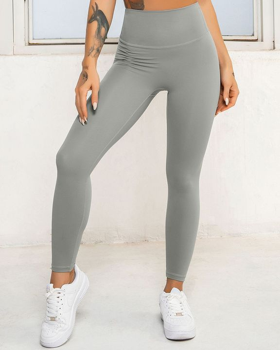 Solid High Waist Butt Lifting Cropped Sports Leggings gallery 1