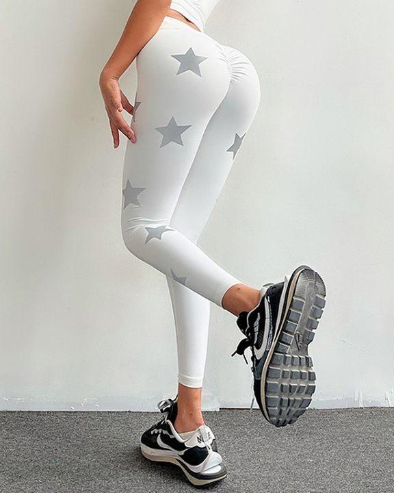 Star Print Scrunch Butt Wide Waistband Sports Leggings gallery 13