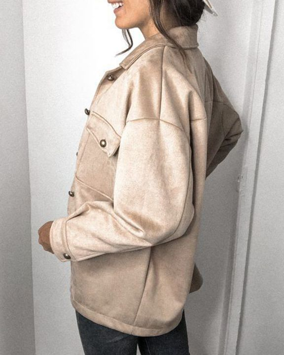 Solid Button Front Flat Pocket Jacket gallery 5