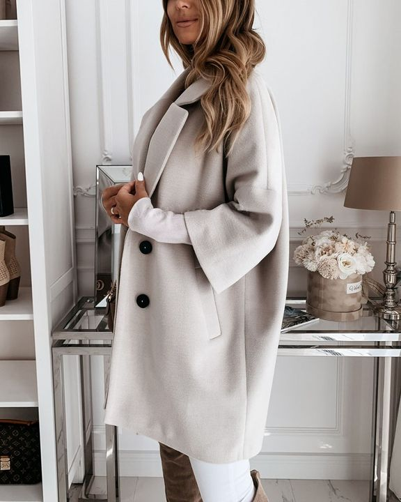 Double Breasted Pocket Detail Lapel Neck Coat gallery 6