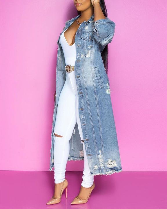Ripped Button Up Flap Pocket Longline Denim Coat gallery 4