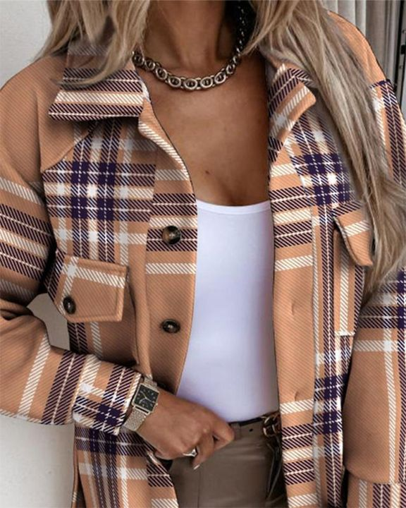 Plaid Print Flap Pocket Button Front Belted Coat gallery 2