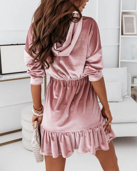 Velvet Solid Ruffle Hem Elastic Hooded Mini Dress gallery 4