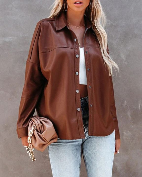 PU Leather Button Up Jacket gallery 12