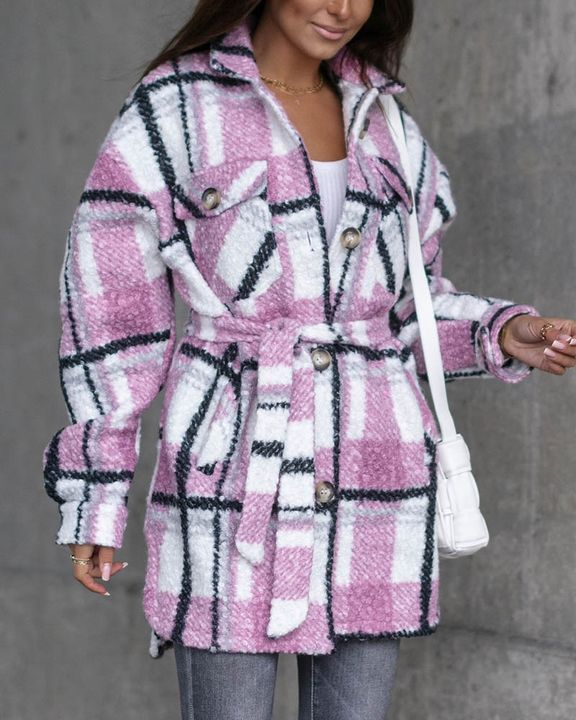 Plaid Print Button Through Pocket Detail Belted Coat gallery 1