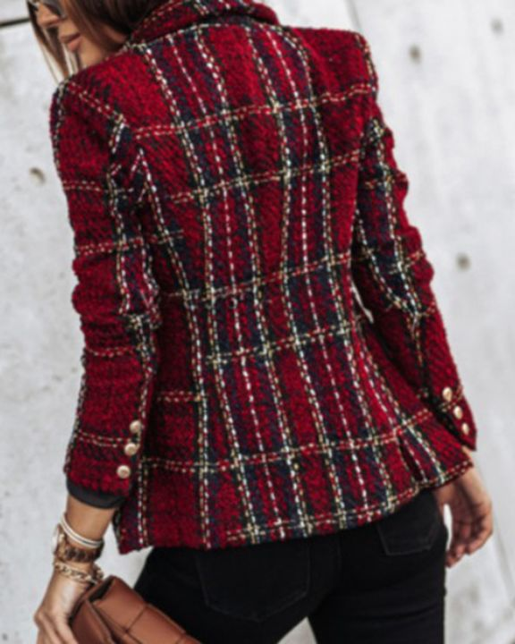 Plaid Print Double Breasted Lapel Neck Blazer gallery 7