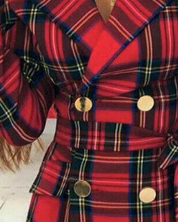 Tartan Print Double Breasted Belted Coat gallery 3
