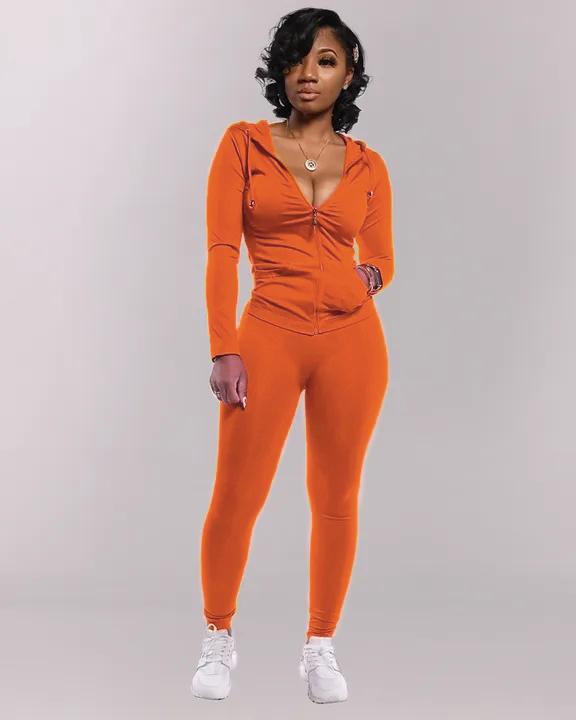 Solid Hoodie Zip Front Long Sleeve Top & Pants Set gallery 4