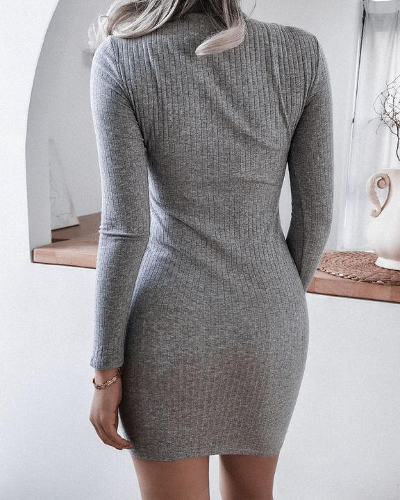 Solid Rib-Knit Cut Out Lace Up High Neck Mini Dress gallery 3
