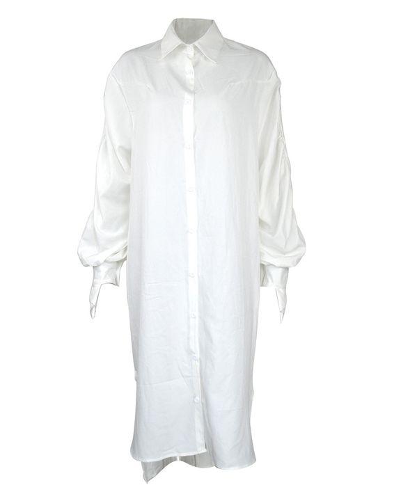 Solid Button Through Ruched Split Hem Midi Shirt Dress gallery 5