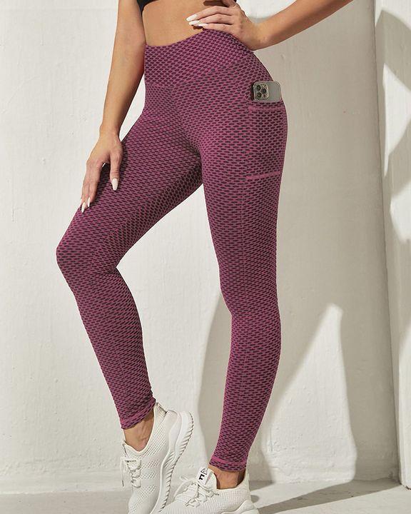Honeycomb Textuerd Pocket Side Sports Leggings gallery 4