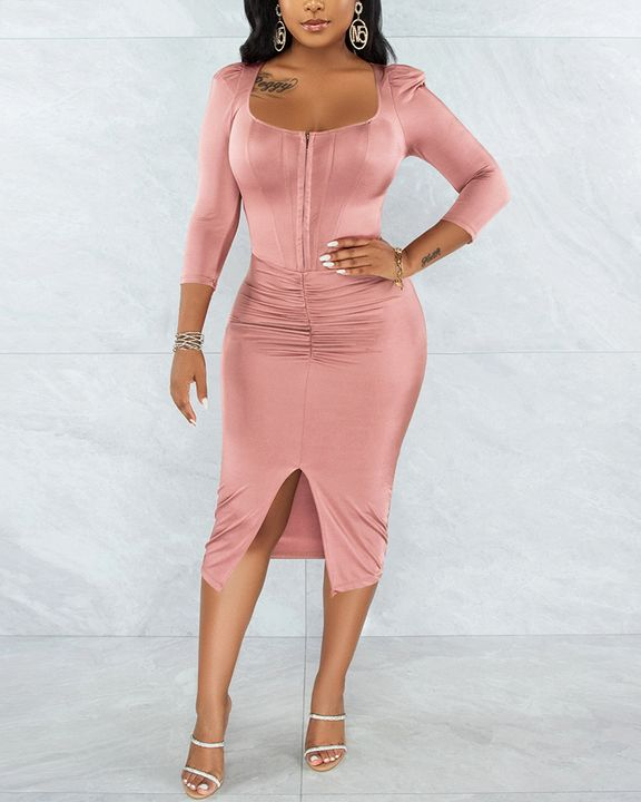 Solid Ruched Zip Front Split Hem Bodycon Midi Dress gallery 11
