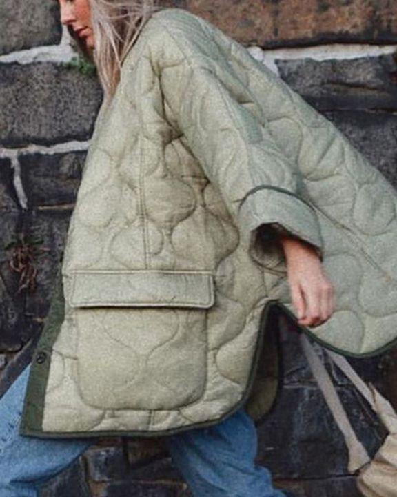 Flap Pocket Button Front Split Hem Quilted Coat gallery 3