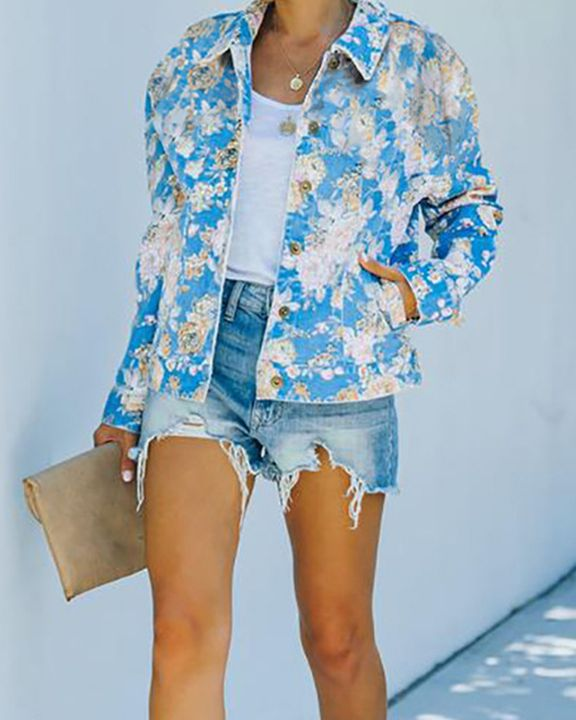 Floral Print Button Up Pocket Detail Jacket gallery 3