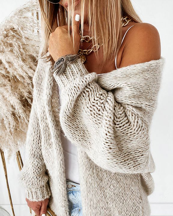 Solid Chunky Knit Drop Shoulder Open Front Cardigan gallery 4