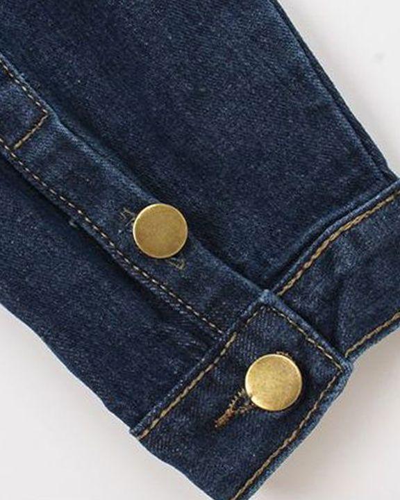 Ripped Flap Pocket Button Up Raw Hem Denim Coat gallery 8