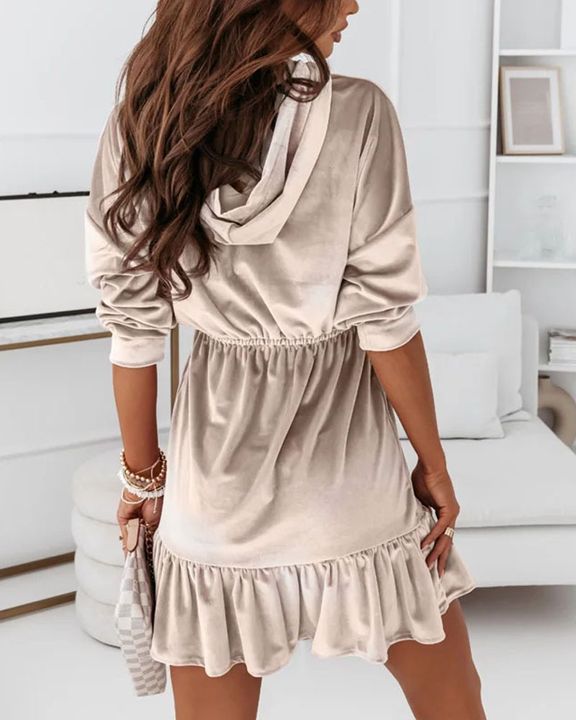 Velvet Solid Ruffle Hem Elastic Hooded Mini Dress gallery 10