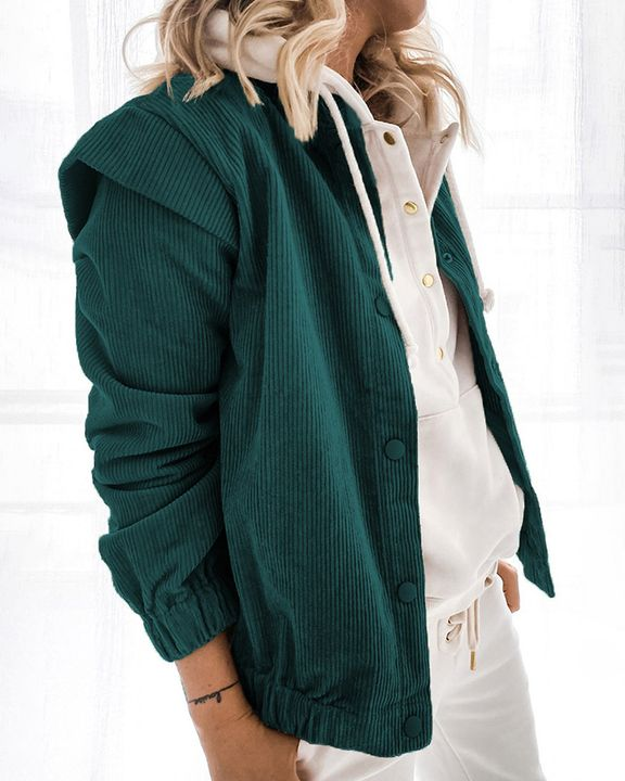 Solid Shoulder Padded Button Up Stand Collar Cord Coat gallery 6