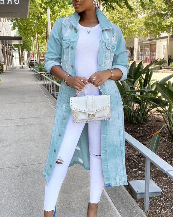 Ripped Button Up Flap Pocket Longline Denim Coat gallery 2