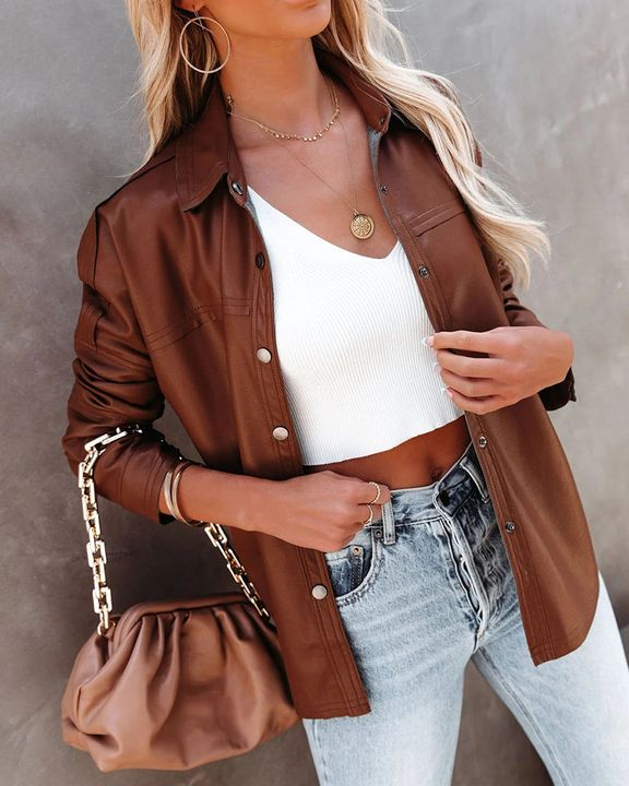 PU Leather Button Up Jacket gallery 15