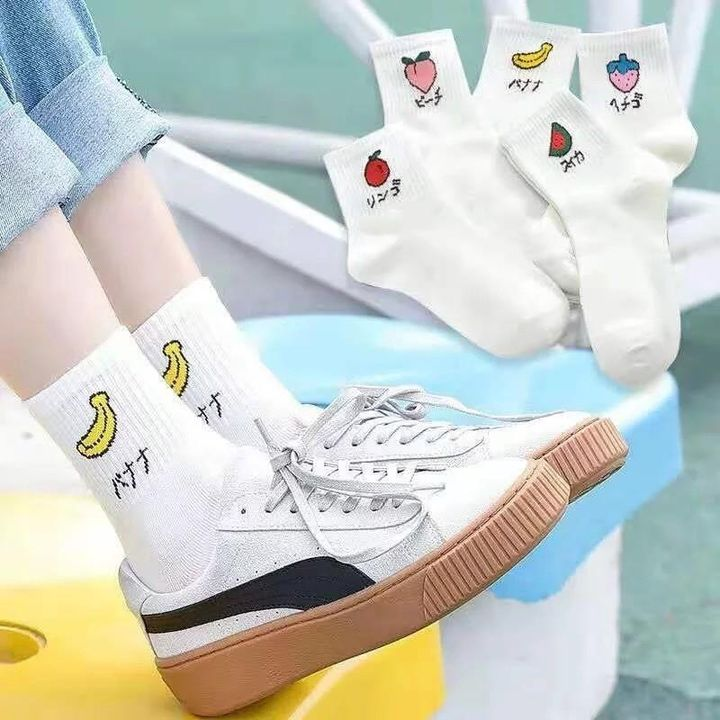 1 Pair Graphic Embroidery Ribbed Random Color Crew Socks gallery 1