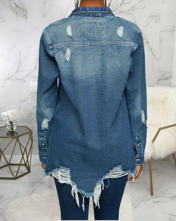 Ripped Flap Pocket Button Up Raw Hem Denim Coat gallery 5