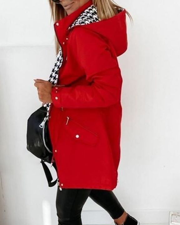 Zip Up Drawstring Detail Houndstooth Hooded Coat gallery 3