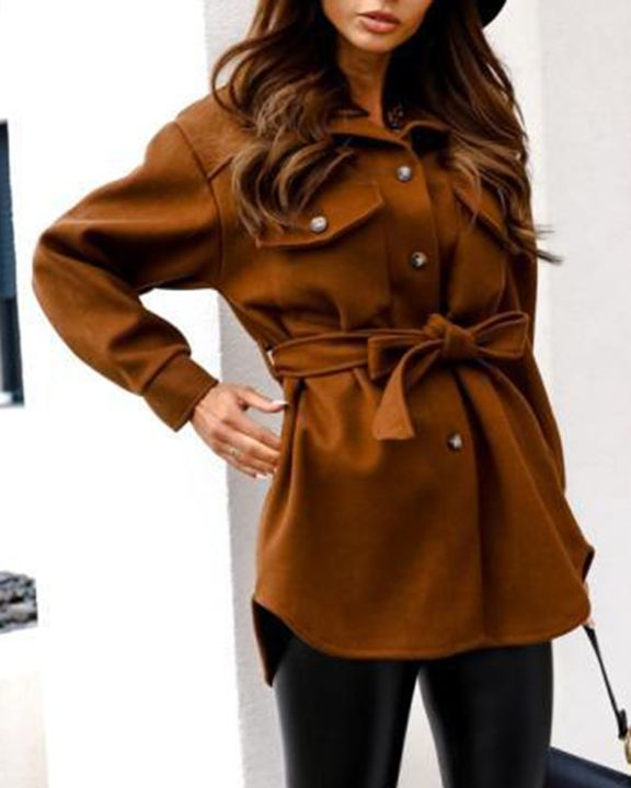 Solid Button Up Belted Flat Pocket Coat gallery 12