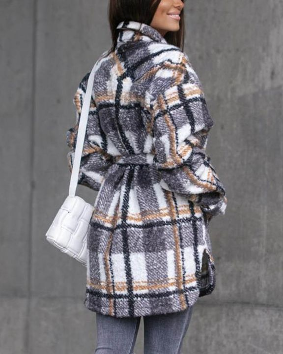 Plaid Print Button Through Pocket Detail Belted Coat gallery 10