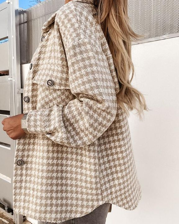 Houndstooth Pattern Button Up Flat Pocket Jacket gallery 10