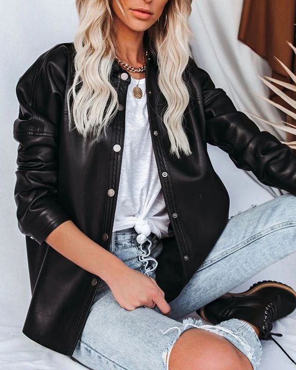 PU Leather Button Up Jacket gallery 8