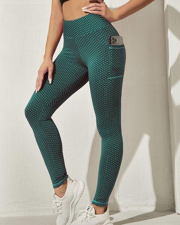 Honeycomb Textuerd Pocket Side Sports Leggings gallery 3