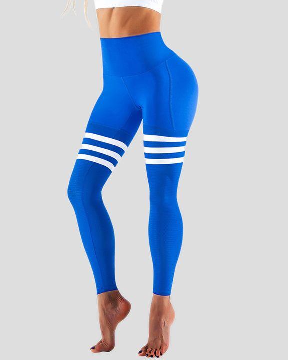 Stripe Colorblock High Waist Sports Leggings gallery 2