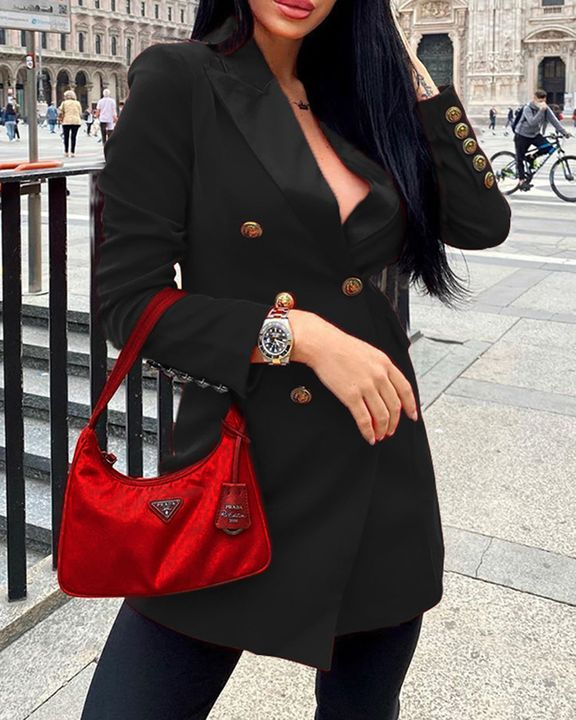 Solid Double Breasted Lapel Neck Coat gallery 4