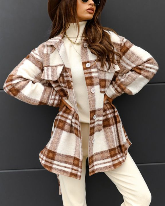Plaid Button Up Self Belted Flap Pocket Coat gallery 12