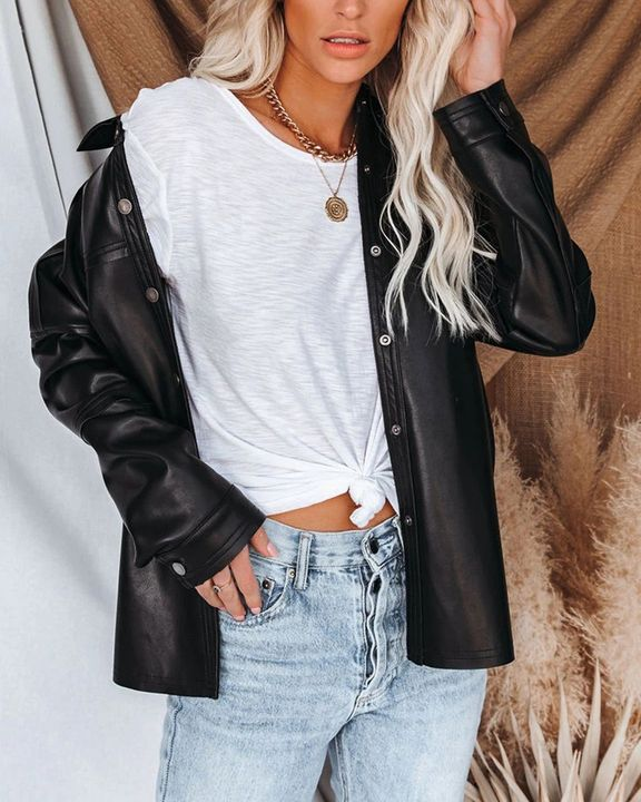 PU Leather Button Up Jacket gallery 6