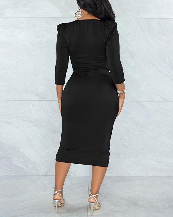 Solid Ruched Zip Front Split Hem Bodycon Midi Dress gallery 7