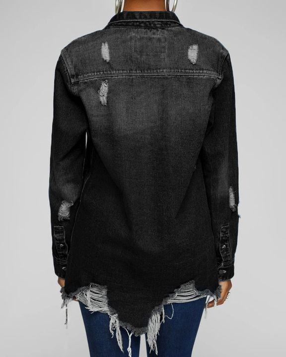 Ripped Flap Pocket Button Up Raw Hem Denim Coat gallery 4